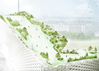 Supergrønt kraftverk i Danmark med slalåmbakke på taket